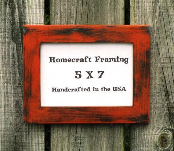 5x7 picture frame distressed wedding frame wood frame orange. Black Bedroom Furniture Sets. Home Design Ideas