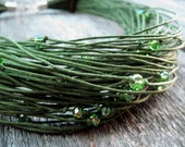 Moss Green Waxed Linen Necklace Sparkling Glass Spring Olive Fashion Multistrand Fiber Jewelry Khaki Eco Friendly - DreamsFactory