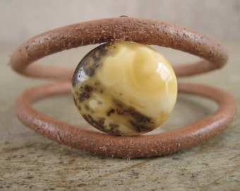 Leather Bracelet Full Moon Men Geometric Jewelry Unisex Luna Round Eco Fashion Baltic Amber Astronomy Yellow Brown