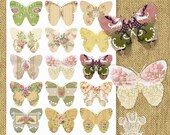 PNG Butterfly Silhouettes Victorian Wallpaper Butterflies Instant Download Collage Sheet Tattered Vintage no.566PNG