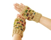 Camel colorful Hand Knitted wooly Fingerless Gloves rainbow colors