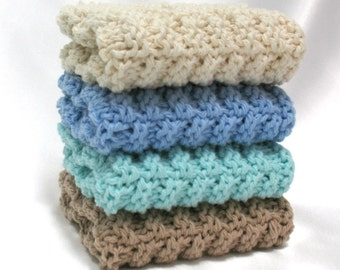 Knit Dishcloths Cotton Knitted Dishcloths Washcloths Ocean Colors Beach Cottage Decor