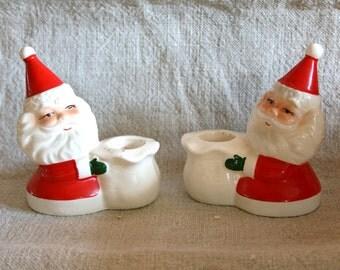 Vintage Pair of Santa Candleholders from JAPAN