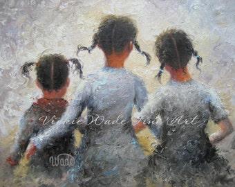 Three Sisters Art PRINT, three girls wall art, three girls art, pigtails, girls room art, sisterhood, childrens wall art, Vickie Wade art