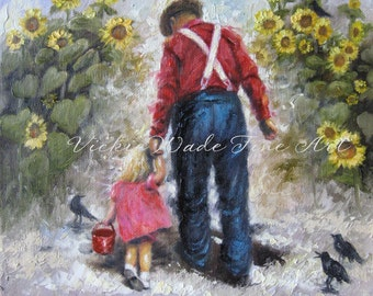 Father Daughter Art Print, grandpa sunflowers, blond girl, dad, grandpa, farmer, crows, sunflower paintings, Vickie Wade art
