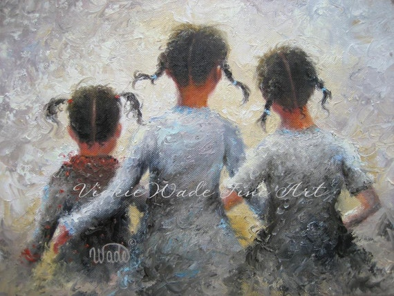 Pigtails Art Print Three Sisters Paintings By