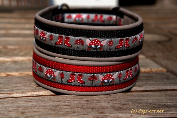 """Dog Collar """"Mouse Weather"""" by dogs-art, martingale collar, limited slip collar, leather dog collar, mouse, animal print, dog collar, collar"""