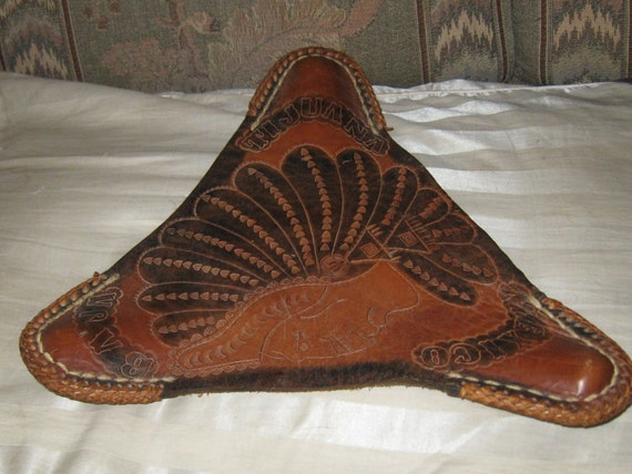 Vintage Hand Tooled Mexican Leather Saddle Seat Folding