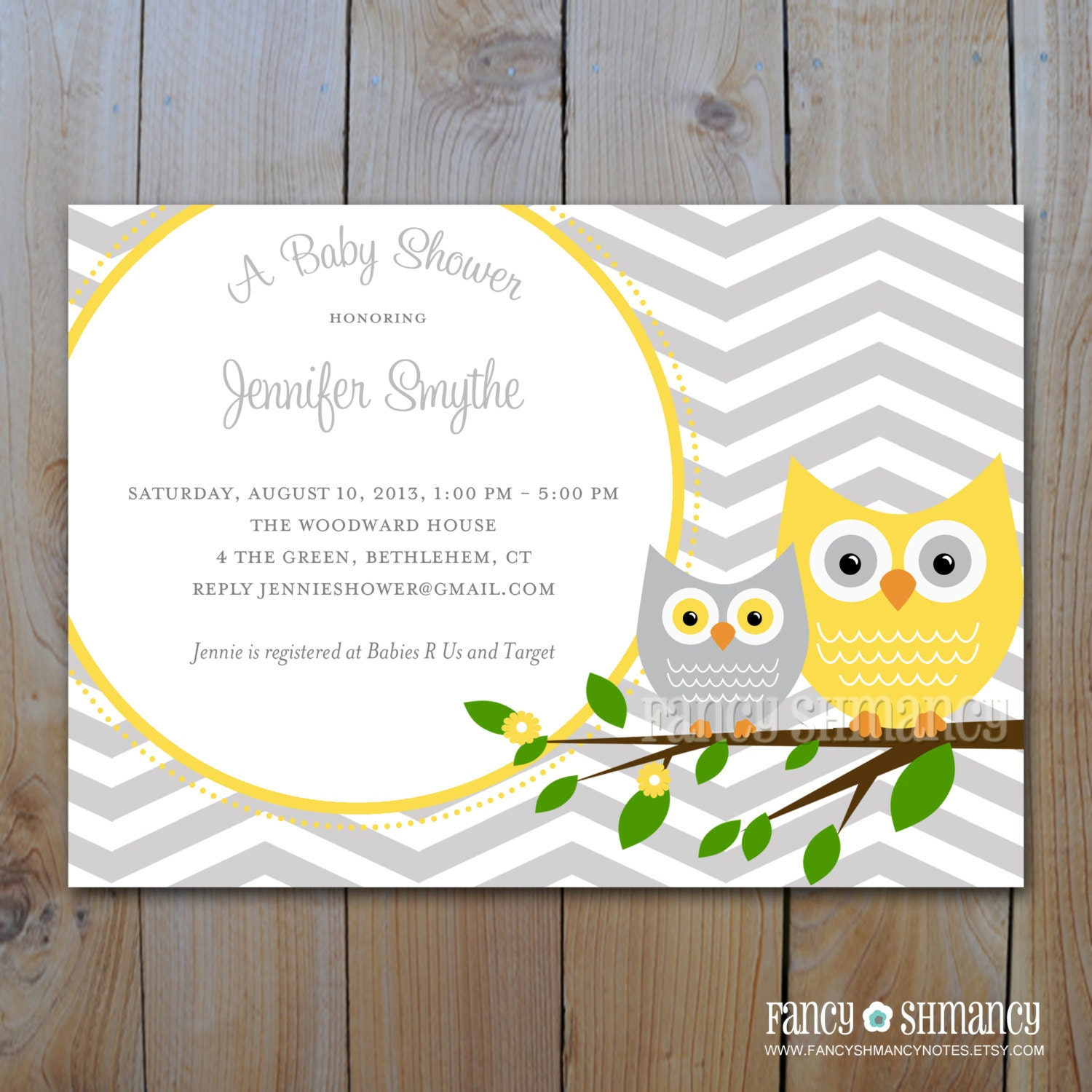 baby shower invitation grey and yellow owl with grey
