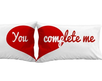 Valentines Day Gift Idea Heart Pillowcases - You complete me, for him, for her, for husband, for wife, for man, for woman. for a couple.