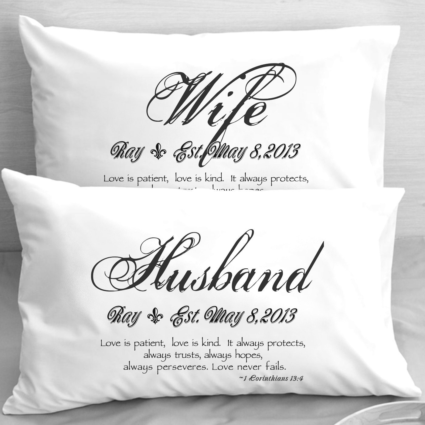 Online Gift For Husband On Wedding Night : Wife Husband Bible Verse Pillow Cases 1 Corinthians 13 Love