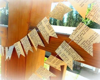 Vintage Dictionary Paper Garland  / 6 Ft / Party Garland / Wedding Garland