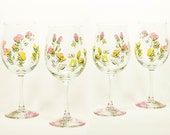 Personalized Bridesmaid Wine Glasses - Hand Painted MultiColor Roses Yellow Peach Pink - Wedding Maid Matron Honor Set of 8 San Diego
