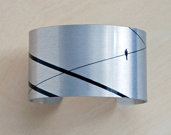 Lone Bird on Wire - Aluminum Cuff Bracelet - Photography - Handmade - Unique Gift - Wearable Art!