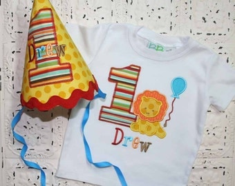 Lion Birthday Shirt and Hat - ALL Birthday Numbers are Available