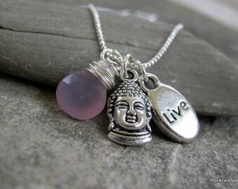 Pink Chalcedony gemstone Tibetan silver Buddha charm  necklace