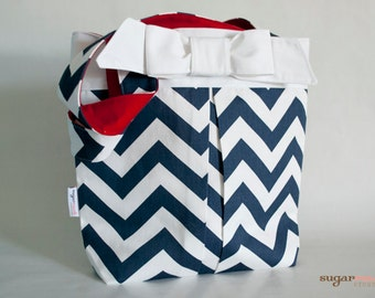 Navy Blue Chevron Pleated Tote Bag with Bow