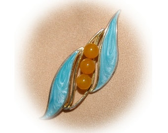 Vintage Aqua Brooch, Enameled, Butterscotch Beads,  1970's