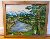 Naive Landscape Primitive Oil on Paper Self Taught Original Work Shabby Frame Pastoral River Valley Tudor House Deer Dog Cat Blue Mountains