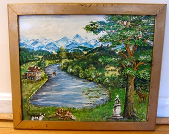 Naive Landscape Primitive Oil on Paper Self Taught Original Work Shabby Frame Pastoral River Valley Tudor House Deer Dog Cat Blue Mountains