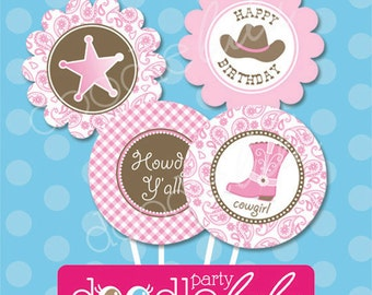 Cowgirl Party Circles - Cowgirl Cupcake Toppers - Pink and Brown,- Gingham and Paisley - DIY PARTY PRINTABLES