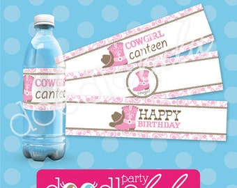 INSTANT DOWNLOAD DIY Printable Cowgirl Party Water Bottle Labels / Wraps - 3 Text Versions/Designs from Doodlelulu by 2 june bugs