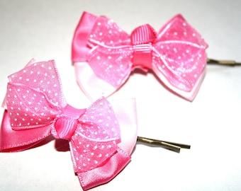 Pink bow hair pins