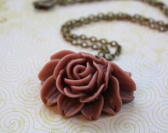 Plum Flower Necklace, Rose Necklace