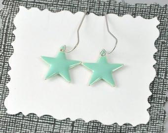 Mint Green Earrings Enamel Star Dangles Whimsical Jewelry
