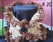crochet pattern, scarf cowl neckwarmer, num. 20, TAN COWL with Cream Edging Crochet for Beginners,one pattern, 4 looks. instant download