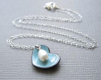 Dusk Blue Heart Necklace White Pearl Sterling Silver Enamel