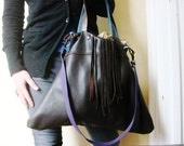 Brown Repurposed Leather Hobo Bag