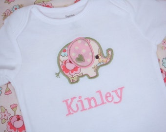 Personalized Baby Girl Shirt - Elephant Baby Girl Bodysuit - Baby Girl Outfit or Baby Boy Outfit