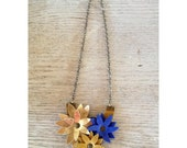 Handmade Leather Necklace-Gold, Blue, and Goldenrod