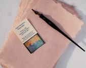 Ten sheets of peach handmade abaca kozo paper