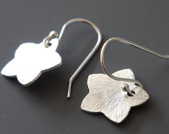 Silver Star Earrings, Simple Earrings, Silver Brushed Stars, Dangle Earrings, Drop Earrings, Everyday Earrings, Brushed Silver
