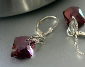 Swarovski Crystal Earrings - Dangle Earrings - Leverback Earrings - Crystal Earrings - Bridal Earrings - Elegant Earrings
