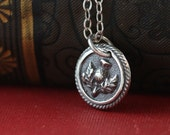 Scottish Thistle Outlander Inspired Wax Seal Small Tiny Charm Necklace- Sterling Silver Handmade