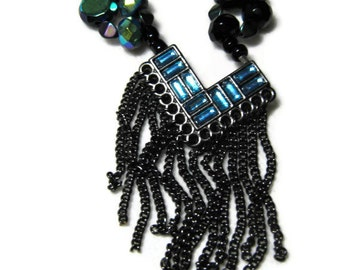 Black and Turquoise Blue Necklace, Art Deco Necklace