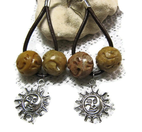 Sandstone and Leather Earrings- Oasis,Carved Stone Dangle Earrings