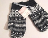 Black and White Sweater Mittens