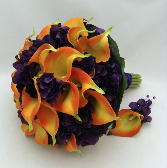Wedding Bridal Bouquet Real Touch Calla Lily Hydrangea Bridal Bouquet Groom's Boutonniere in Orange and Purple - Customize for your Colors