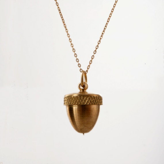 acorn secret container necklace solid brass locket opens to. Black Bedroom Furniture Sets. Home Design Ideas