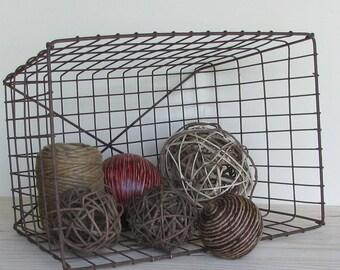 Industrial - vintage basket - Rusted Metal - interior decor