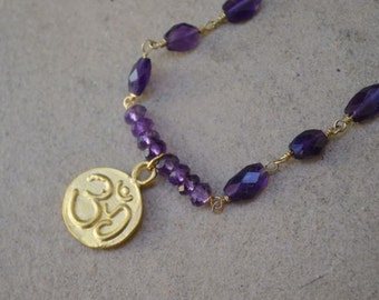 Amethyst Om Necklace gold filled February birthstone
