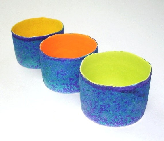 3 Ceramic Votive candle holder, ring holder, modern handmade pottery, Summer home decor Colorful Bright mint green blue Wedding Favor