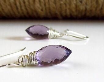 Lavender Purple Stone Earrings, Lilac Quartz Sterling Silver Wrapped Earrings, Lavender Stone, Purple Stone Earrings, Teardrop Gemstone