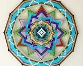 Unfolding, a custom order 24 inch Ojo de Dios mandala