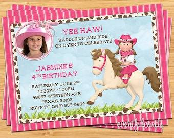 Kids Cowgirl on Horse Birthday Party Invitation