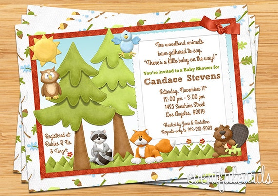 woodland animals baby shower invitation by eventfulcards on etsy